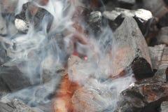 Fumo e fiamma sopra i carboni Fotografie Stock