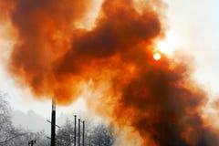 Fumo e incêndio Imagens de Stock