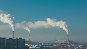 Fumo e névoa sobre a cidade video estoque