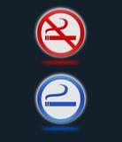 Fumo e segni non fumatori Fotografia Stock