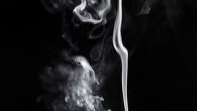 Fumo em um fundo preto. video estoque