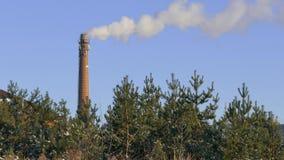 Fumo industriale dal camino su cielo blu archivi video