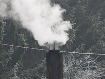 Fumo nell'inverno Fotografia Stock Libera da Diritti