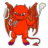 Fumo rosso del ragazzo del demone Fotografie Stock Libere da Diritti