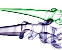 Fumo a spirale blu e verde Fotografia Stock