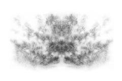 Fumo strutturato, il nero astratto, nuvola isolata sul fondo del whvite Fotografia Stock
