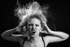 Fumo sulla testa Fotografia Stock