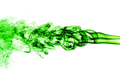 Fumo verde abstrato no fundo branco, fundo do fumo, verde Fotos de Stock