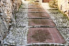 Fumone, średniowieczna wioska w Włochy Zdjęcia Royalty Free