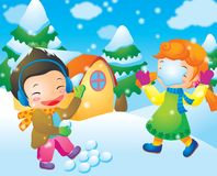 Fun. Throwing a snowball, against a little girl Stock Photo