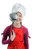 Fun. An image of a girl with a colander in her hands royalty free stock photo