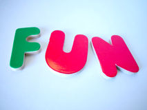 Fun. Colorful letters spelling fun Royalty Free Stock Photography