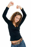 Fun. Adult pretty smiling girl rejoices with hands up Royalty Free Stock Image
