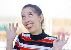 Fun. The girl, which is fun and it seems to mean almost crazy Stock Photo