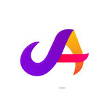 Fun abstract colorful A letter shapes elements logo icon sign ve. Ctor design royalty free illustration
