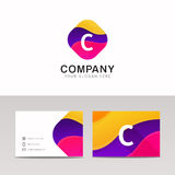 Fun abstract colorful shape C letter logo icon sign vector desig Stock Images