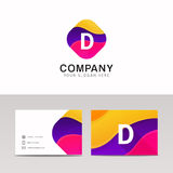 Fun abstract colorful shape D letter logo icon sign vector. Abstract colorful shape D letter logo icon sign vector design Stock Images