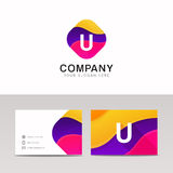 Fun abstract colorful shape U letter logo icon sign vector desig Stock Photo
