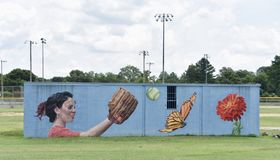 Fun is All Around Mural Side 2 Willow Park, Memphis, TN. Willow Park is comprised of a series of sports fields where soccer, softball and kickball are played stock photos