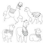 Fun alpaka and lama in festive decorations hand drawn  set. Fun alpaka and lama in festive decorations  set. Cute design Royalty Free Stock Image