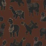 Fun alpaka and lama in festive decorations seamless  pattern. Cute design Stock Photos