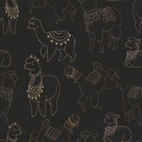 Fun alpaka and lama in festive decorations seamless  pattern. Cute design Royalty Free Stock Images