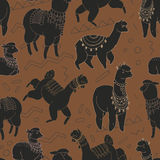 Fun alpaka and lama in festive decorations seamless  pattern. Cute design Royalty Free Stock Photography