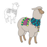 Fun alpaka in traditional festive decorations. Vector set. Fun alpaka in traditional festive decorations Stock Photo