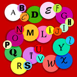 Fun alphabat on multicolor circles-2 Royalty Free Stock Photo