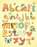Fun alphabet. Alphabet design in fun doodle style letters A-Z - illustration Royalty Free Stock Photography