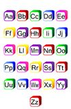 Fun Alphabet. English alphabet in colorful cubes isolated in white specially for kids Royalty Free Stock Images