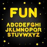 Fun alphabet gold letters on black background. Vector set cartoon alphabet gold letters. Isolated vector illustration. Fun alphabet gold letters on black stock illustration