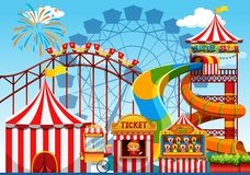 Fun amusement park template. Illustration royalty free illustration