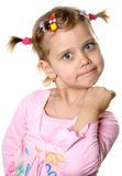 Fun angry girl. Fun angry little girl. Isolate on white Royalty Free Stock Photo