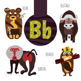 Fun animal letters of the alphabet for the development and learning of preschool children. Set of cute forest, domestic and marine stock illustration