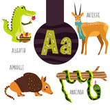 Fun animal letters of the alphabet for the development and learning of preschool children. Set of cute forest, domestic and marine Royalty Free Stock Photography