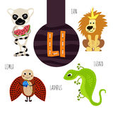 Fun animal letters of the alphabet for the development and learning of preschool children. Set of cute forest, domestic and marine Royalty Free Stock Photo