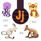Fun animal letters of the alphabet for the development and learning of preschool children. Set of cute forest, domestic and marine Royalty Free Stock Images