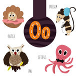 Fun animal letters of the alphabet for the development and learning of preschool children. Set of cute forest, domestic and marine Stock Image