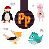 Fun animal letters of the alphabet for the development and learning of preschool children. Set of cute forest, domestic and marine Royalty Free Stock Image