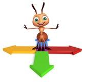 Fun Ant cartoon character with arrow sign. 3d rendered illustration of Ant cartoon character with arrow sign Stock Photography