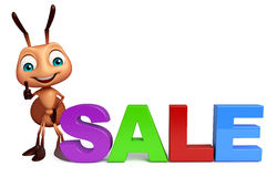 Fun Ant cartoon character with big sale sign. 3d rendered illustration of Ant cartoon character with big sale sign Stock Images