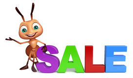 Fun Ant cartoon character with big sale sign. 3d rendered illustration of Ant cartoon character with big sale sign Royalty Free Stock Image