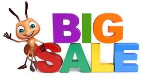 Fun Ant cartoon character with big sale sign. 3d rendered illustration of Ant cartoon character with big sale sign Royalty Free Stock Photos