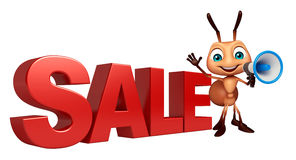Fun Ant cartoon character with big sale sign and loudspeaker Stock Image