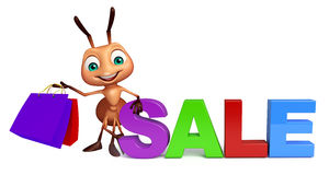 fun Ant cartoon character with big sale sign  with shopping bag Stock Photography
