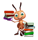 Fun Ant cartoon character with book stack. 3d rendered illustration of Ant cartoon character with book stack Stock Photos