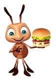 Fun Ant cartoon character with burger Stock Photo