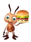Fun Ant cartoon character with burger Stock Photos