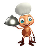 Fun Ant cartoon character  with chef hat and cloche. 3d rendered illustration of Ant cartoon character with chef hat and cloche Stock Images